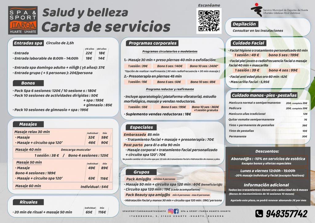 Spa&sport Itaroa Huarte carta de servicios