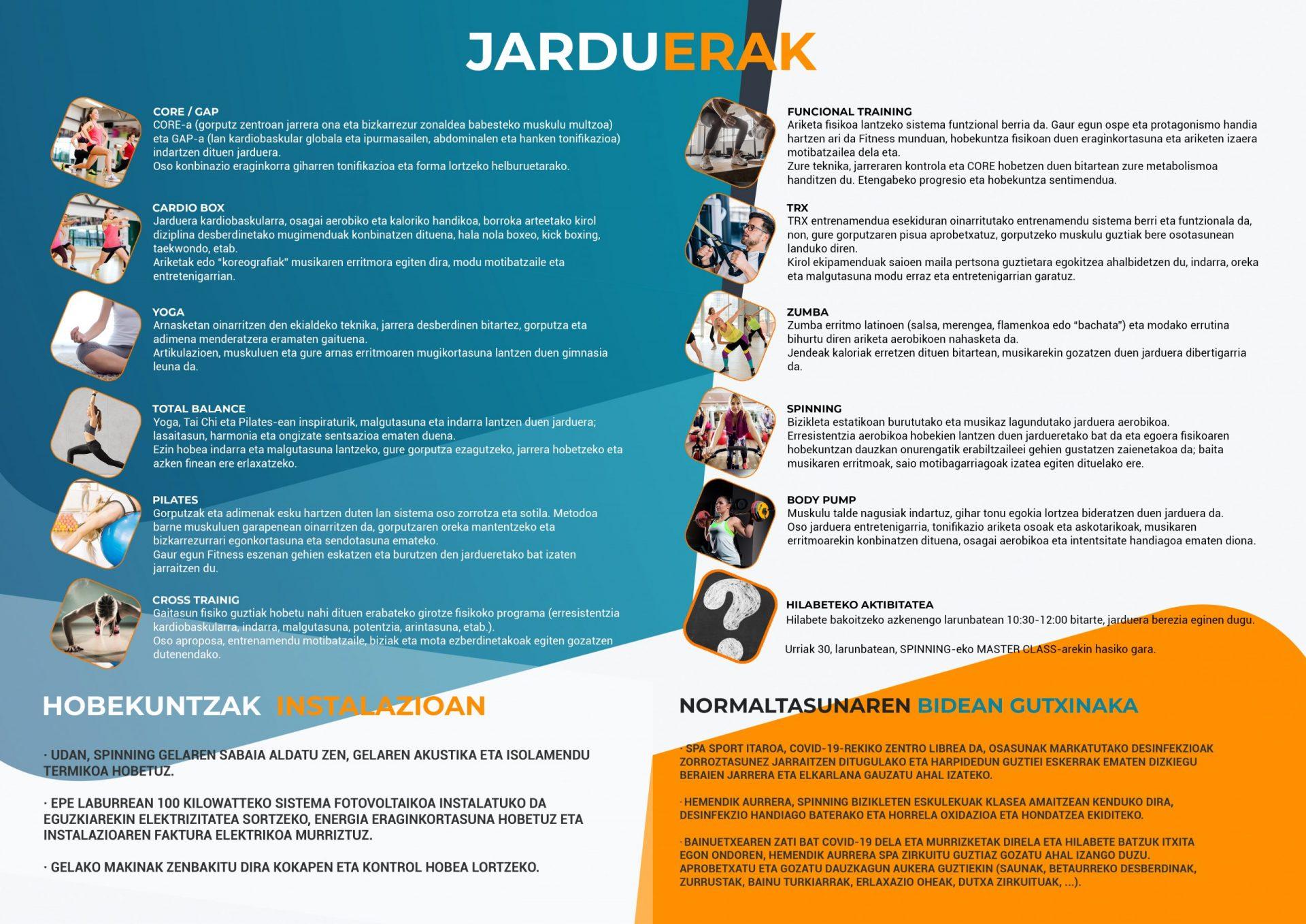 Spa&sport Itaroa Huarte Boletín euskera