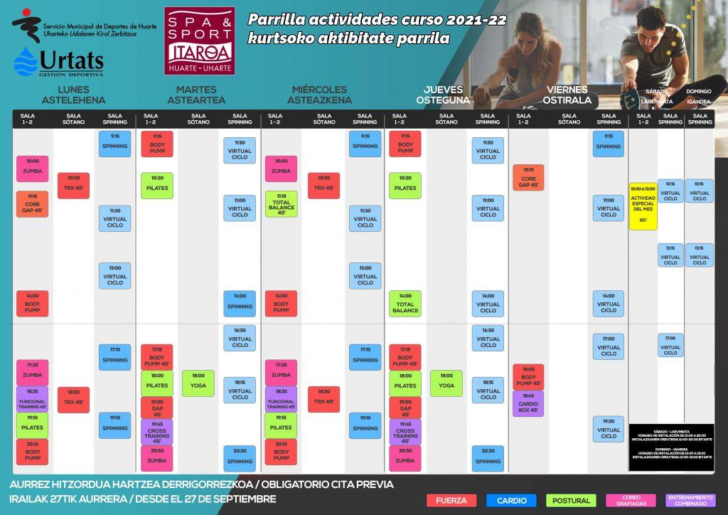 Spa&sport Itaroa Huarte Horario parrilla otoño
